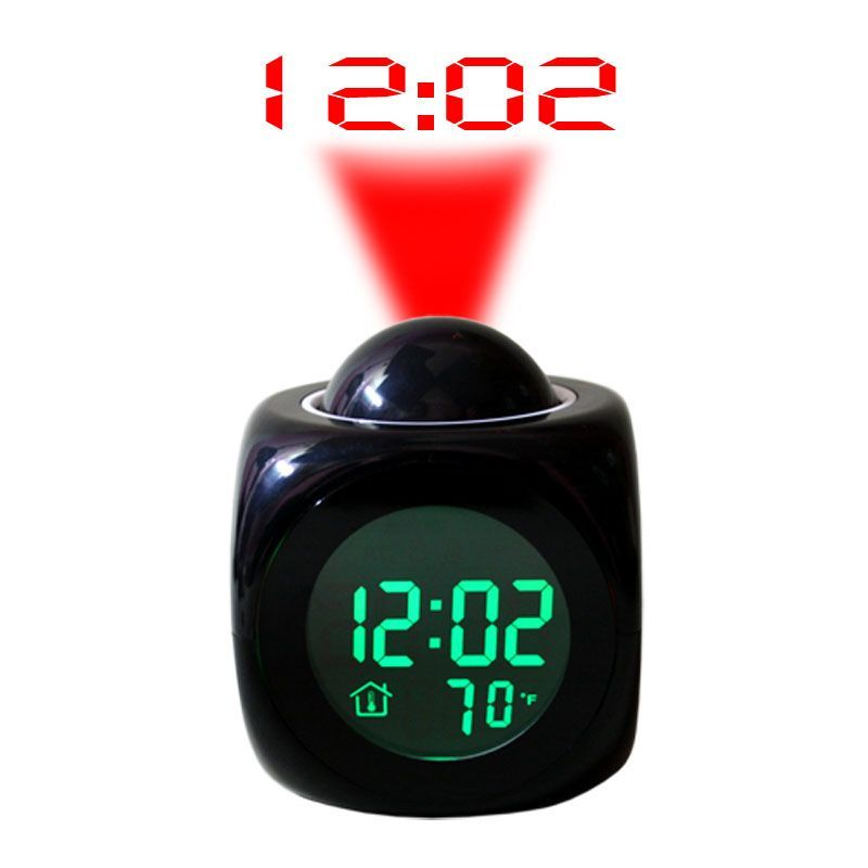 Buy Talking Laser Projector Projection Alarm Table Clock Thermometer Black - 02 online
