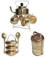 Buy Ranger Brass Antique Kettle - Cup, Pan- Spoon, Tiffin Miniature Gift Set online