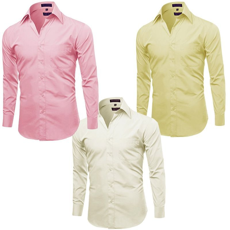 Buy Pack Of 3 Off White, Pink And Yellow Formal Shirts For Men - Yellow-pink-offwhite online
