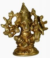 Buy Beautiful Small Gold Brass Ganesha/ganesh Holding W/ 10 Vajras & Sidhi Figu online