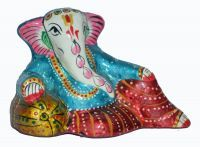 Buy Beautiful Painted Ganesha Statue W/meenakari Work Copper Metal Statue/figur online