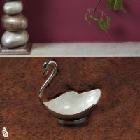 Buy Ivory Enamel Inlayed Swan In Silver Plated Brass online