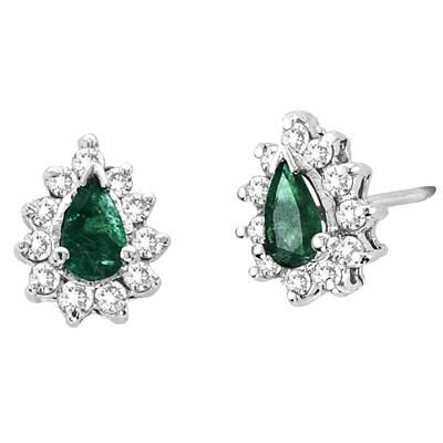 Buy Ag Gem Diamond Green Pear Gemstones Earring online