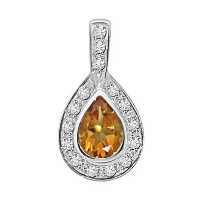Buy Ag Gem Diamond Golden Brown Pear Gemstones Pendant online