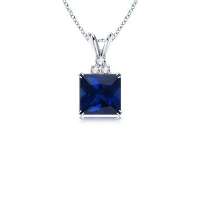 Buy Ag Gem Diamond Blue Square Gemstones Pendant online