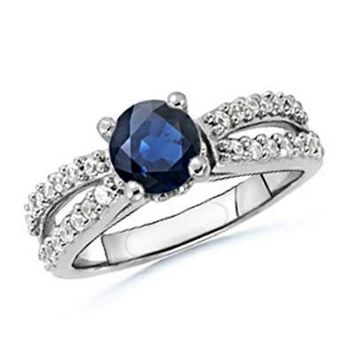 Buy Ag Gemdiamond Dark Blue Round Gemstones Ring online