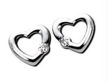 Buy Ag Real Diamond  Stone Heart Earring online