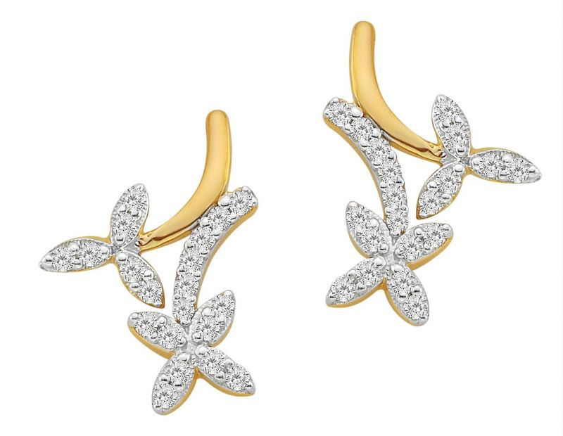 Buy Ag Real Diamond Flower Dangling Fashion Earring online