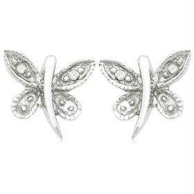 Buy Ag Real Diamond White Butter Fly Fancy Earring online