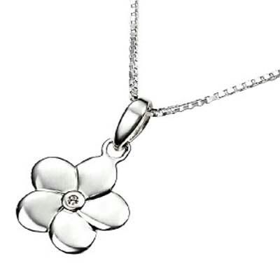 Buy Ag Real Diamond One Stone Beautiful Flower Pendant online