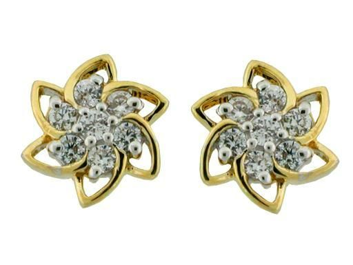 Buy Avsar Real Gold And Diamond Fancy Flower Earrings online