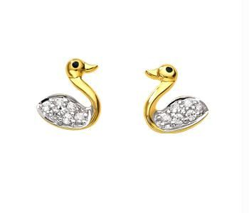 Buy Avsar Real Gold And Diamond Fancy Duck Earring online
