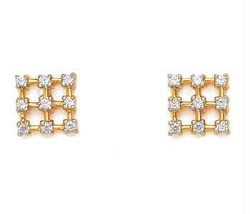 Buy Avsar Real Gold And Diamond Fancy Square Earring online