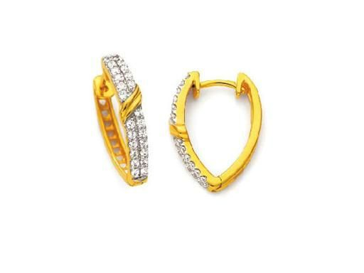 Buy Avsar Real Gold And Diamond Beautiful Hoop Earring online