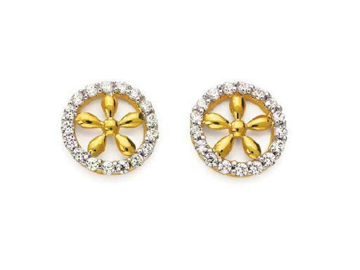 Buy Avsar Real Gold & Dia. Traditional Flower Earring online