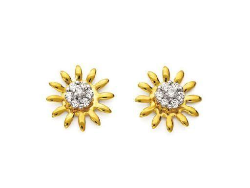 Buy Avsar Real Gold And Diamond Beautiful Sun Earring online