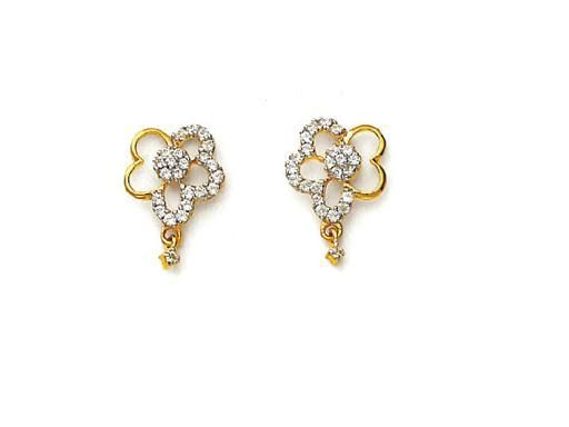 Buy Avsar Real Gold Ad Diamond Heart Flower Earring online