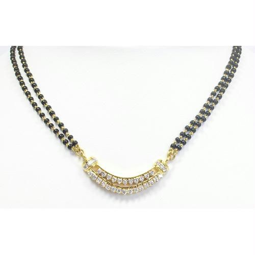 Buy Avsar Real Gold & Diamond Double Line Mangalsutra online