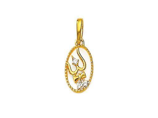 Buy Avsar Real Gold And Diamond Shiv Trishul And Damru Pendant online