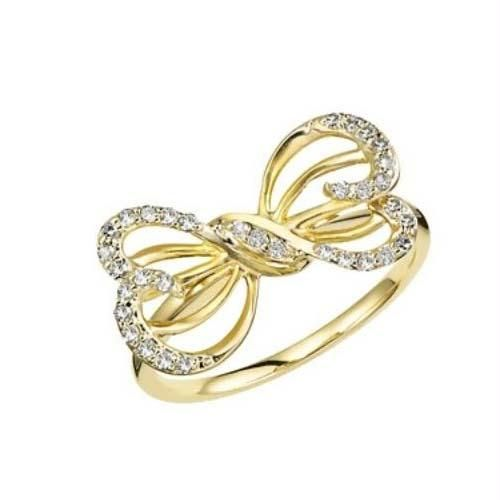 Buy Avsar Real Gold And Diamond Butterfly RING online