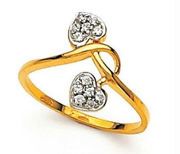 Buy Avsar Real Gold And Diamond Twins Heart Shape Ring online