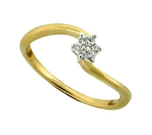 Buy Avsar Real Gold And Diamond Curve Star Ring online