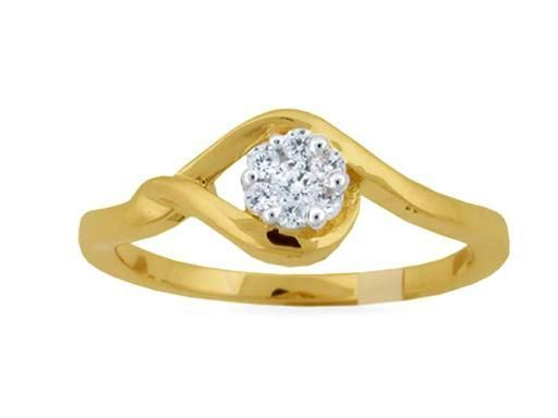 Buy Avsar Real Gold And Diamond Twisted Pressure Ring online