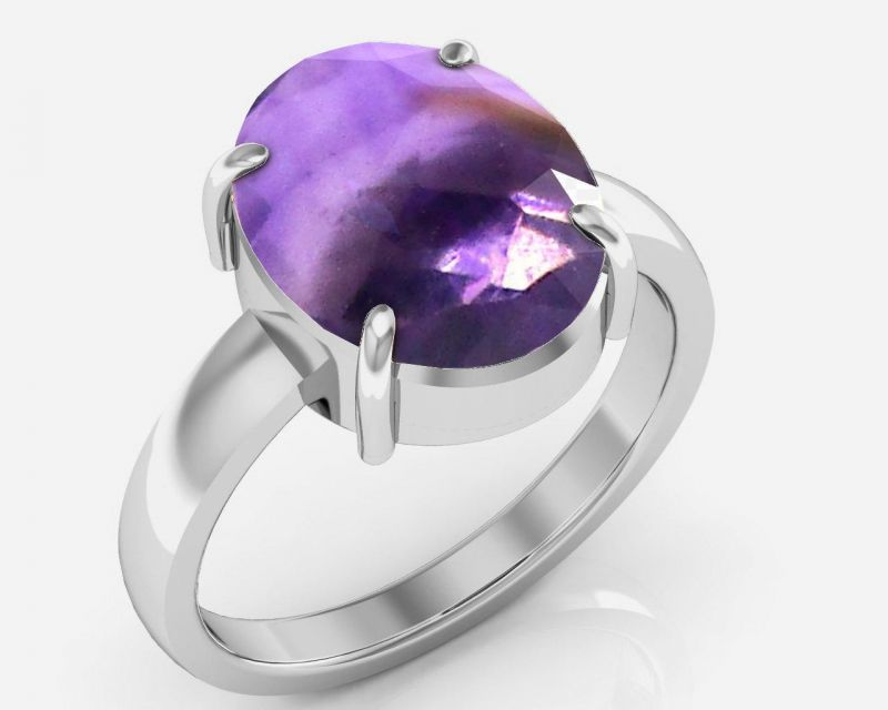 Buy Kiara Jewellery Certified Katela 3.9 cts or 4.25 ratti Amethyst Ring online