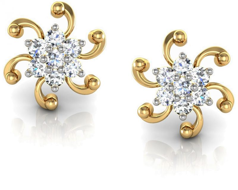 Buy Avsar Real Gold and Diamond Chennai Earrings online