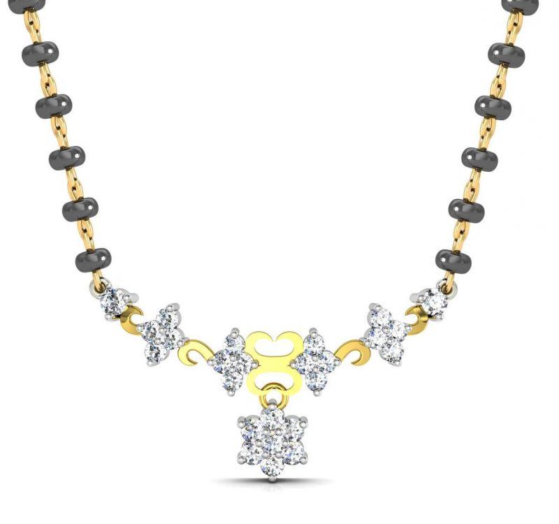 Buy Avsar Real Gold and Swarovski Stone Vishakha Mangalsutra online