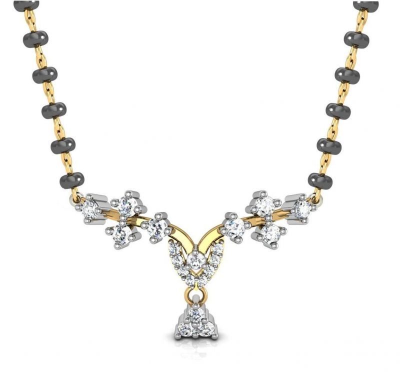 Buy Avsar Real Gold and Swarovski Stone Karina Mangalsuta online