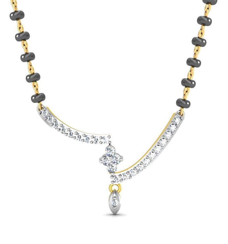 Buy Avsar Real Gold and Swarovski Stone Vashi Mangalsutra online