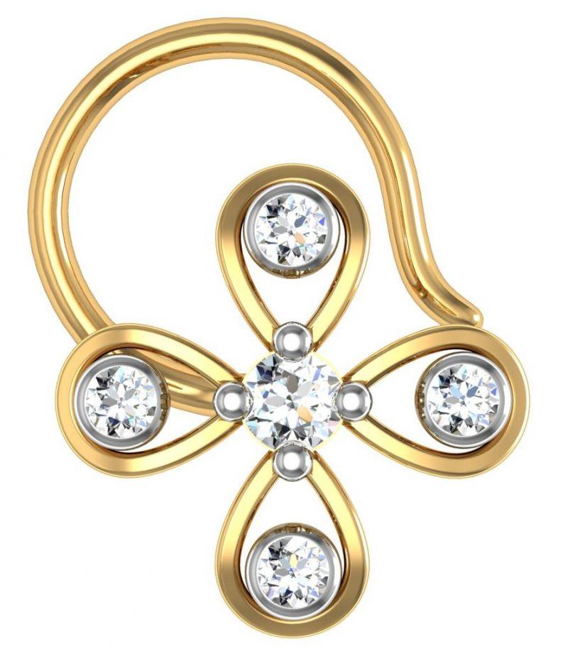 Buy Avsar Real Gold and Diamond kashmir Nose Ring line