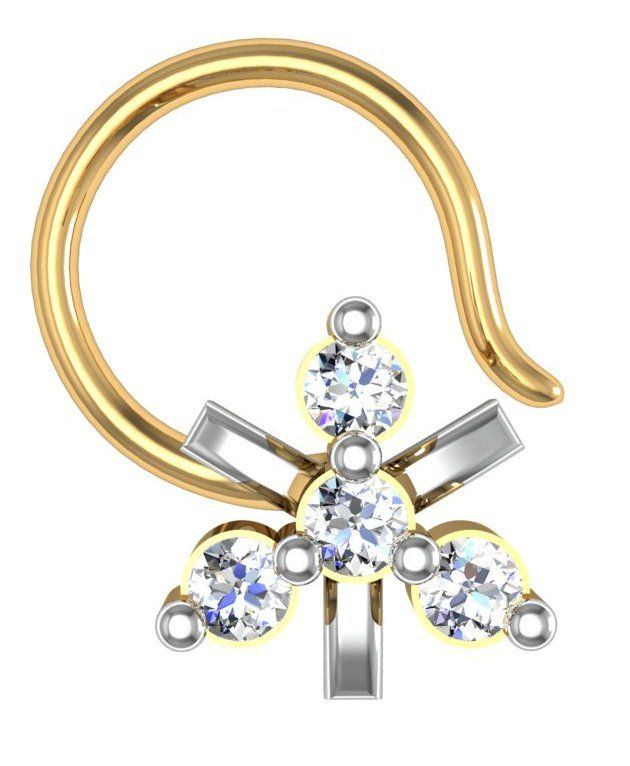 Buy Avsar Real Gold and Swarovski Stone Jammu Nose Ring online