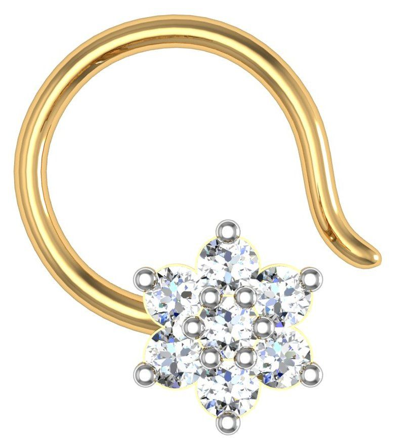 Buy Avsar Real Gold and Swarovski Stone Rohini Nose Ring online