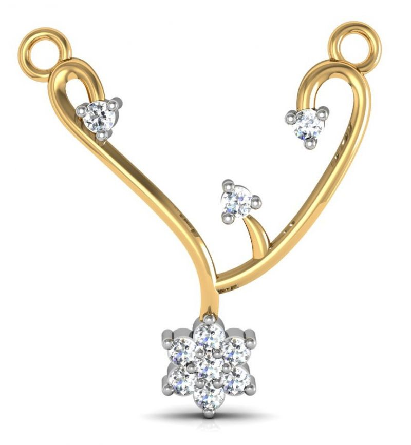 Buy Avsar Real Gold and Swarovski Stone Gaytri Mangalsutra online