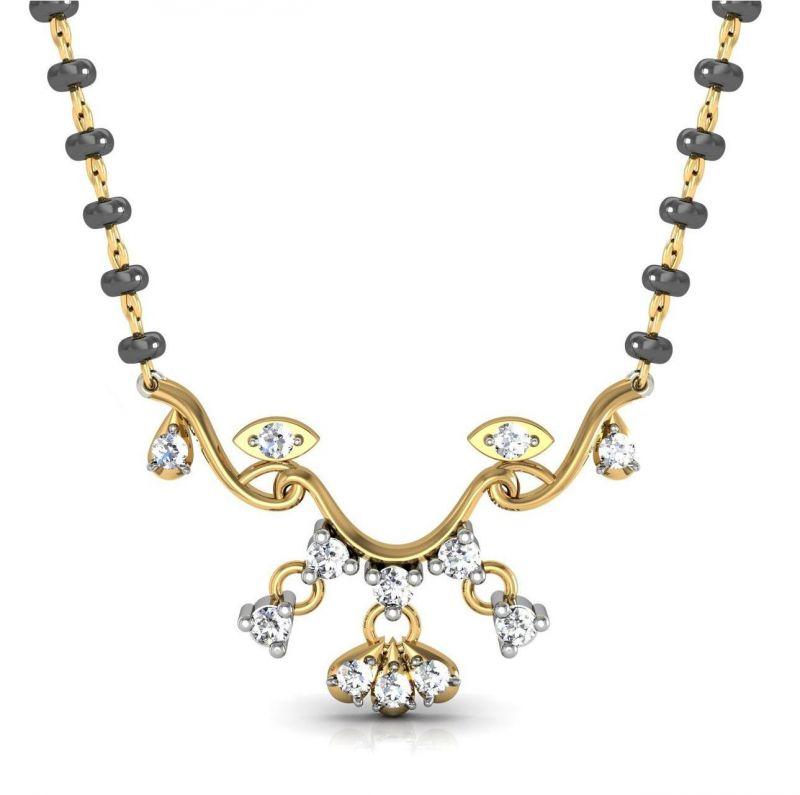 Buy Avsar Real Gold And Swarovski Stone Jammu Mangalsuta Avm072yb online