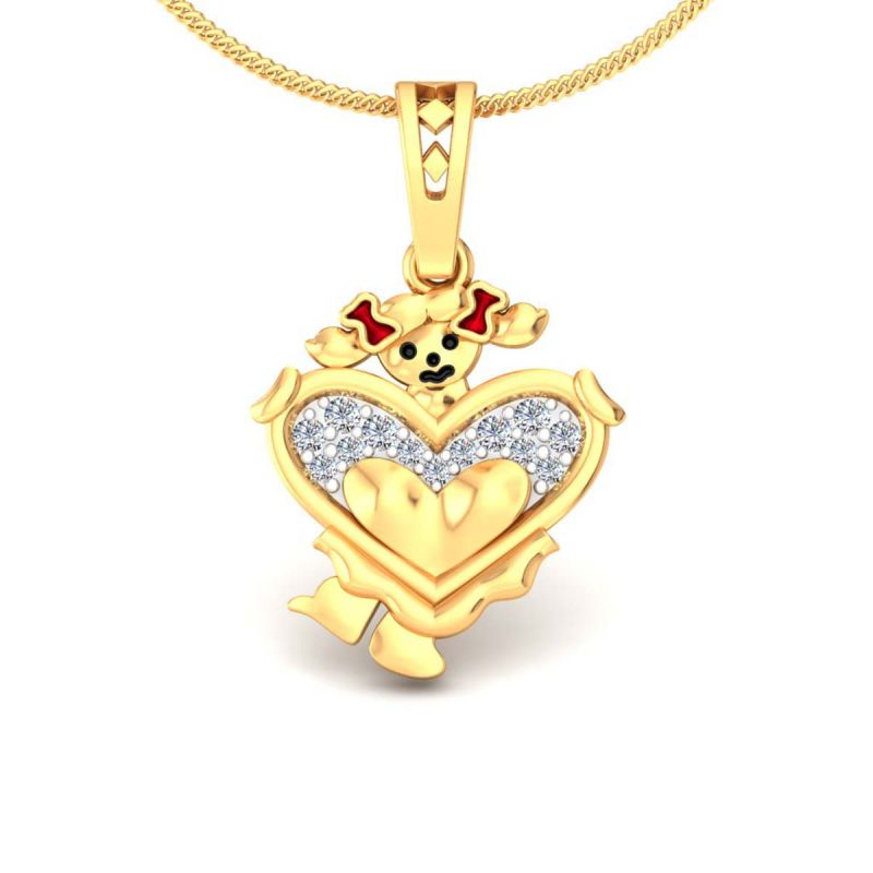 Buy Avsar Real Gold and Diamond  Sneha Pendant online