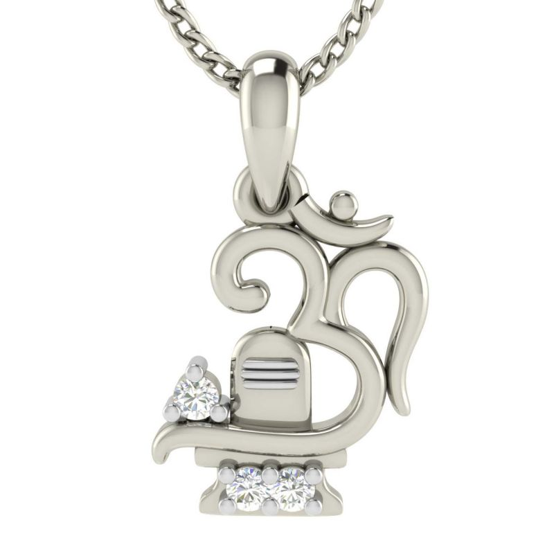 Buy Avsar Real Gold and Diamond OM Shape God Pendant online