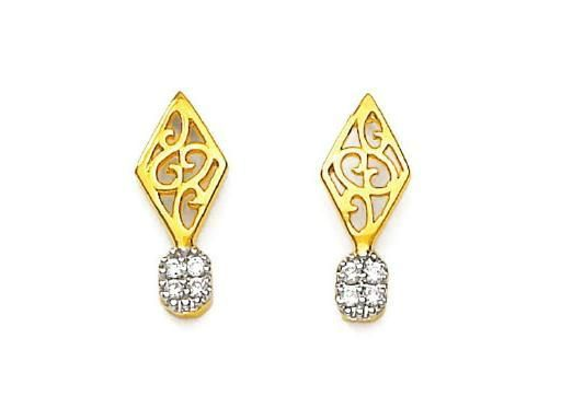 Buy Bling! Real Gold And Diamond Fashion Style Earring online