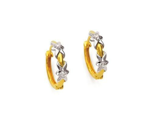 Buy Bling! Real Gold & Diamond Hoop Style Fancy Earring online