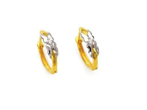 Buy Bling! Real Gold & Diamond Hoop Style Earring online