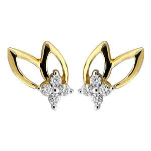 Buy Bling! Real Gold And Diamond Fancy Leaf Earring online