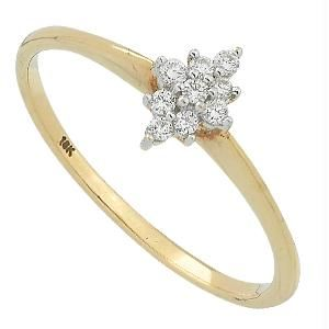 Buy Bling! Real Gold And Diamond Presuure Set Ring online