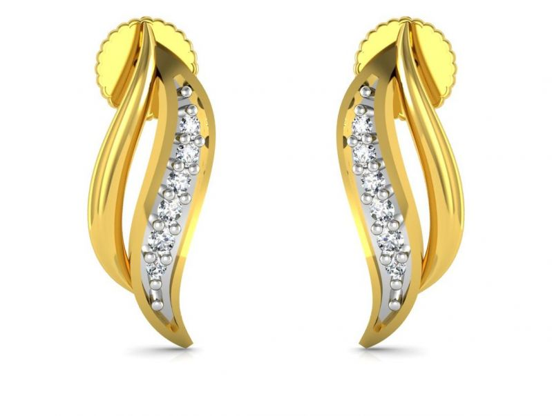 Buy Avsar Real Gold and Cubic Zirconia Stone Divya Earring online