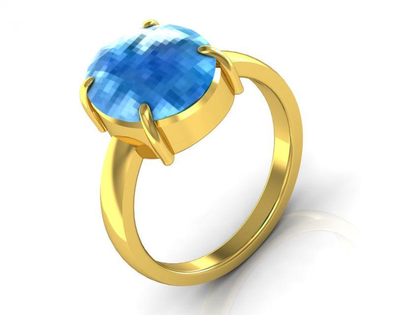 Buy Kiara Jewellery Certified Blue Topaz 3.0 Cts Or 3.25 Ratti Blue Topaz Ring online