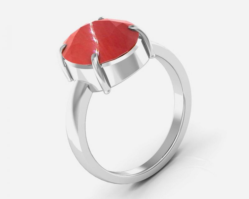 Buy Kiara Jewellery Certified Moonga 3.0 cts or 3.25 ratti Coral Moonga Ring online