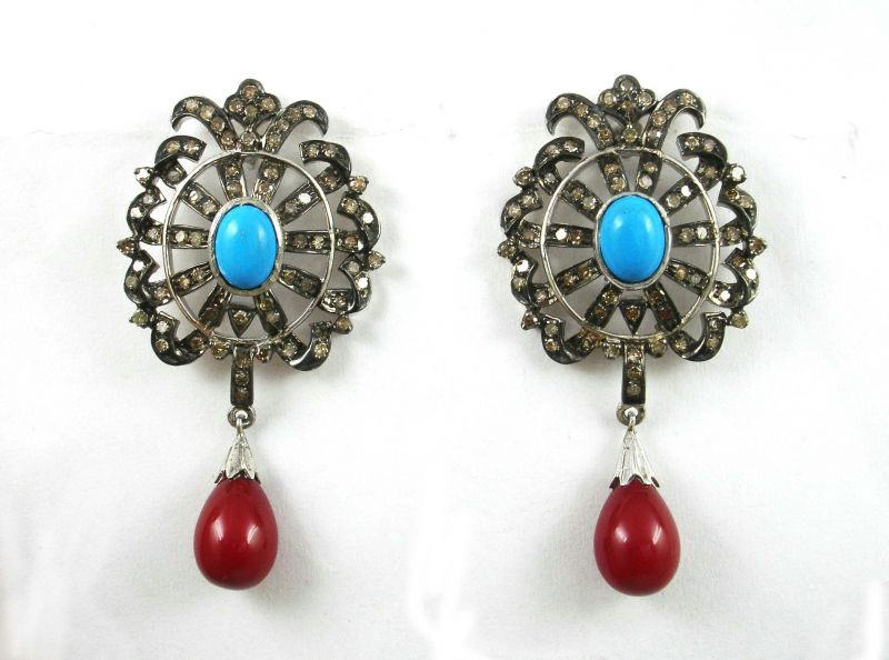 Buy 15.01ctreal Diamond Blue Red Spinyl Victorian Earr online