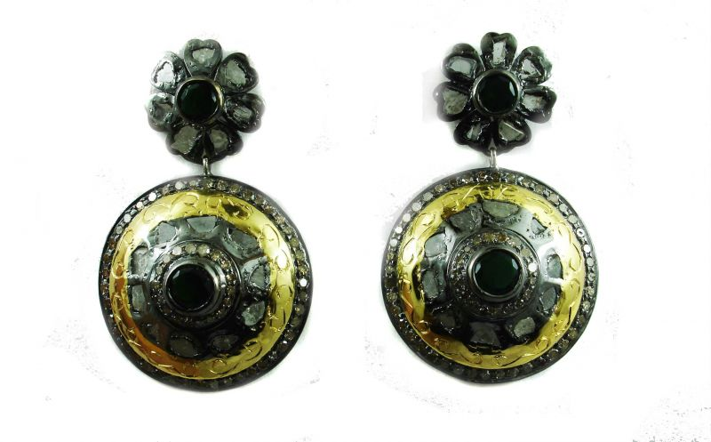 Buy 6.58 REAL DIAMOND EMERALD VICTORIAN EARRING online