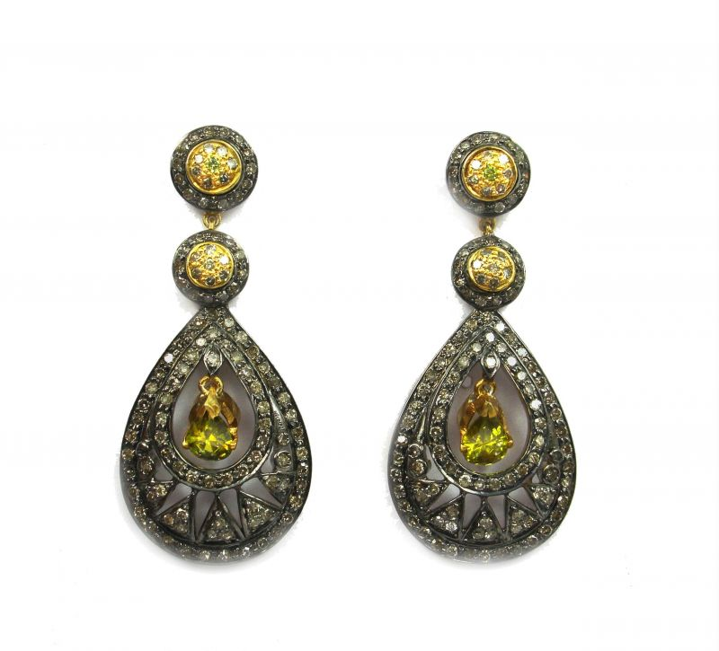 Buy 3.28 Ct Real Diamond And Citrine Victorian Earring online